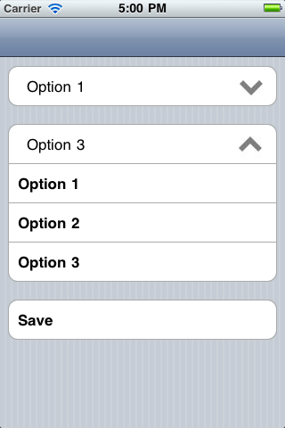 ComboBox for UITableView screenshot