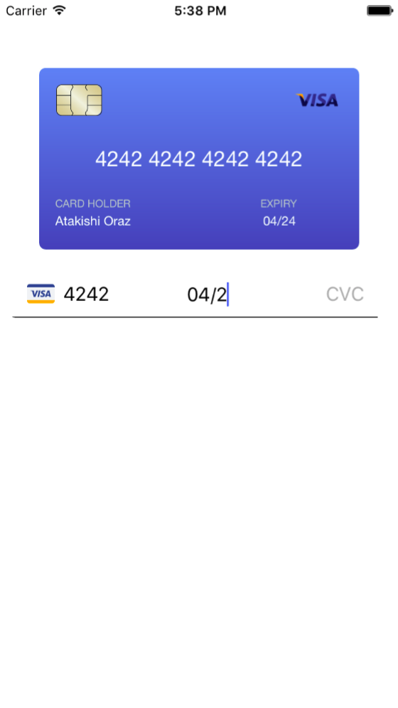 CreditCardForm-iOS screenshot