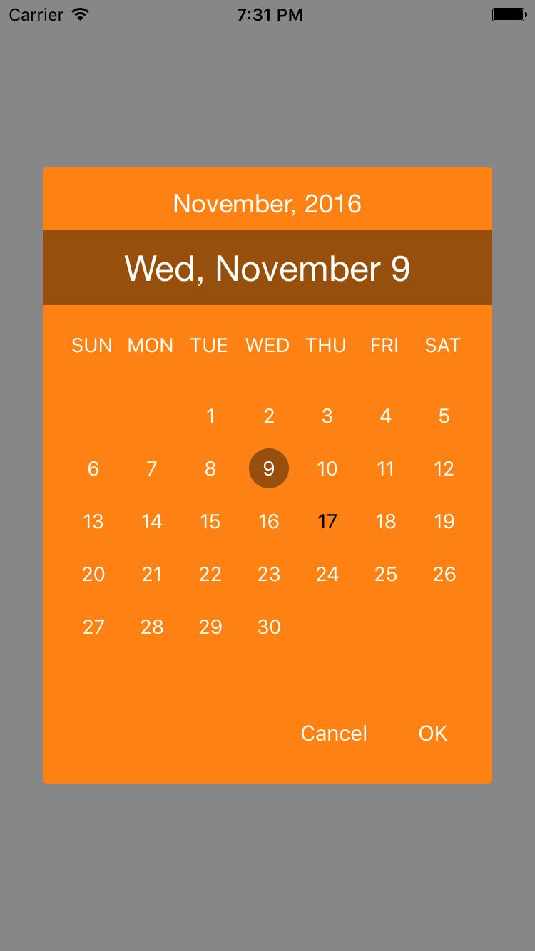 CalendarPopUp screenshot