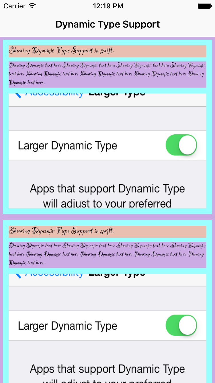 DynamicTypeSupportInSwift screenshot