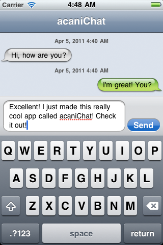 AcaniChat screenshot