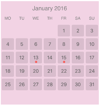 CalendarView screenshot