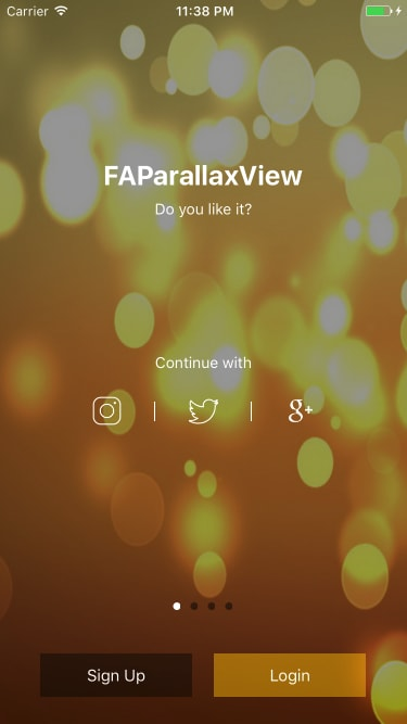 FAParallaxTutorialScreens screenshot