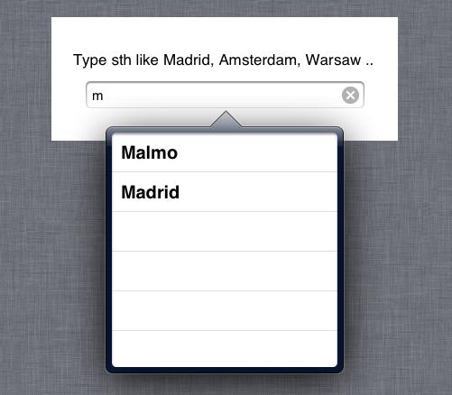 iPad Suggestions List screenshot