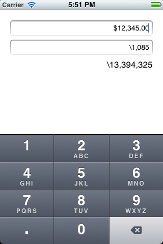 CurrencyNumericTextField screenshot