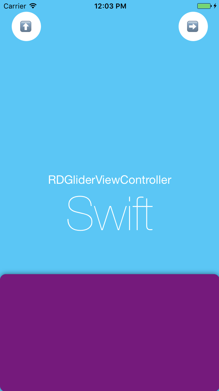 RDGliderViewController-Swift screenshot