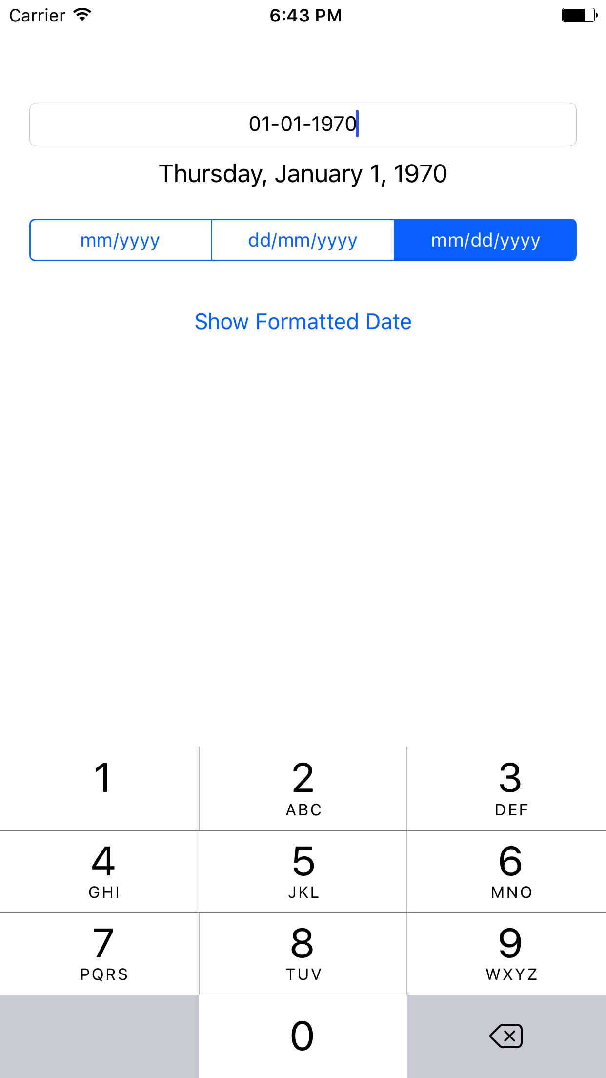 DateTextField screenshot