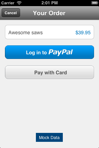 PBPayPalPaymentViewController screenshot