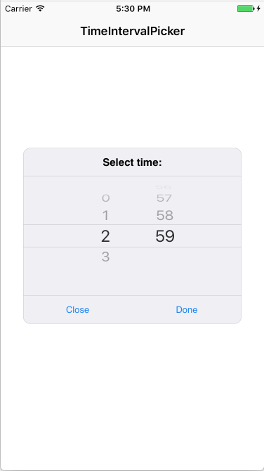 Time interval picker example 1