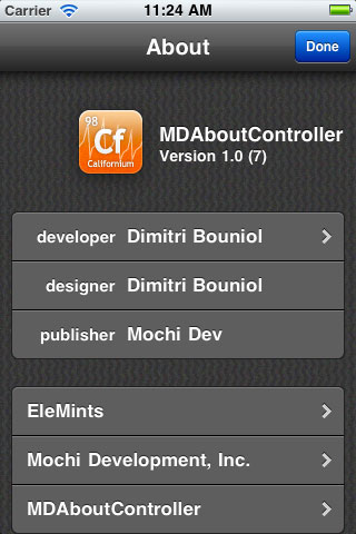 MDAboutController screenshot