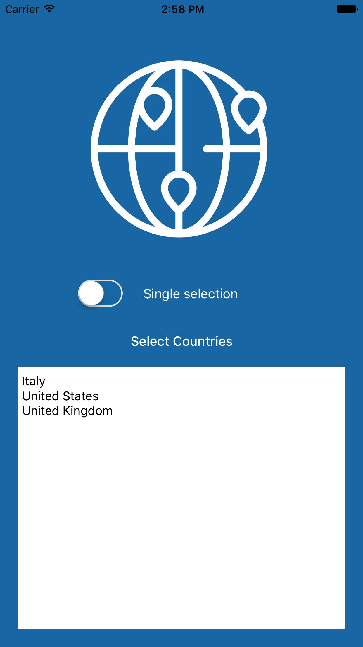 CountriesViewController screenshot