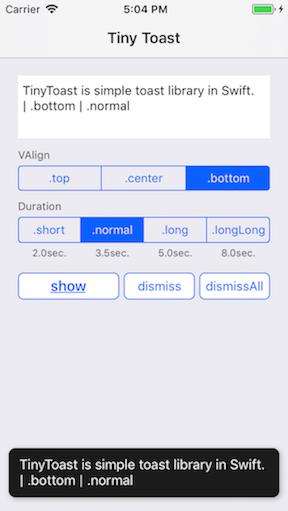 TinyToast screenshot