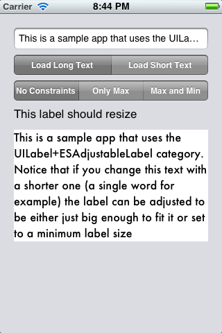 Adjustable Label Category screenshot