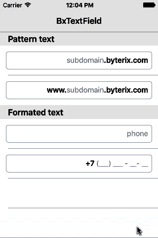 BxTextField screenshot