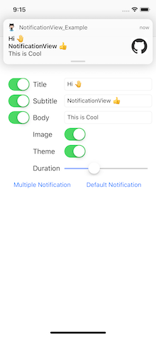 NotificationView screenshot