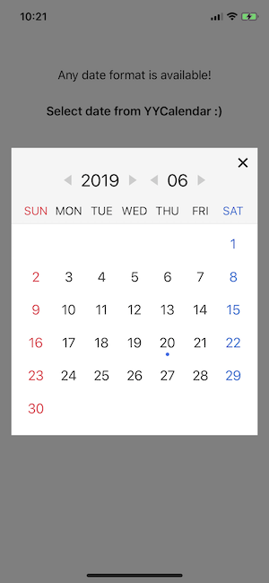 YYCalendar screenshot