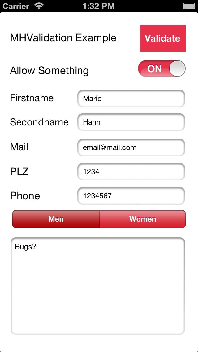 MHValidation screenshot