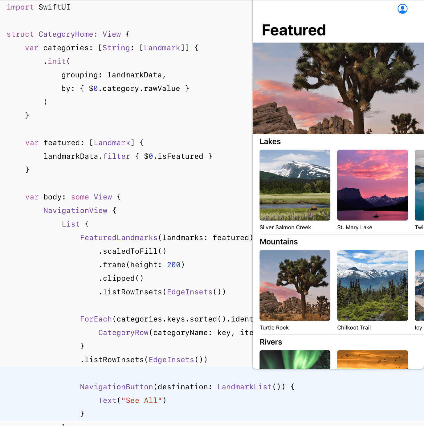 SwiftUI Examples screenshot
