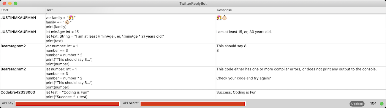 TwitterReplyBot screenshot