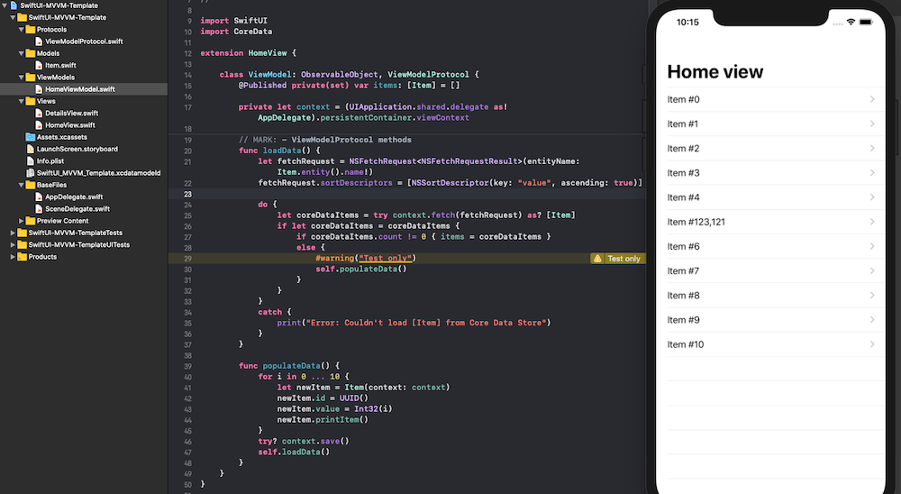 SwiftUI-Template-MVVM screenshot