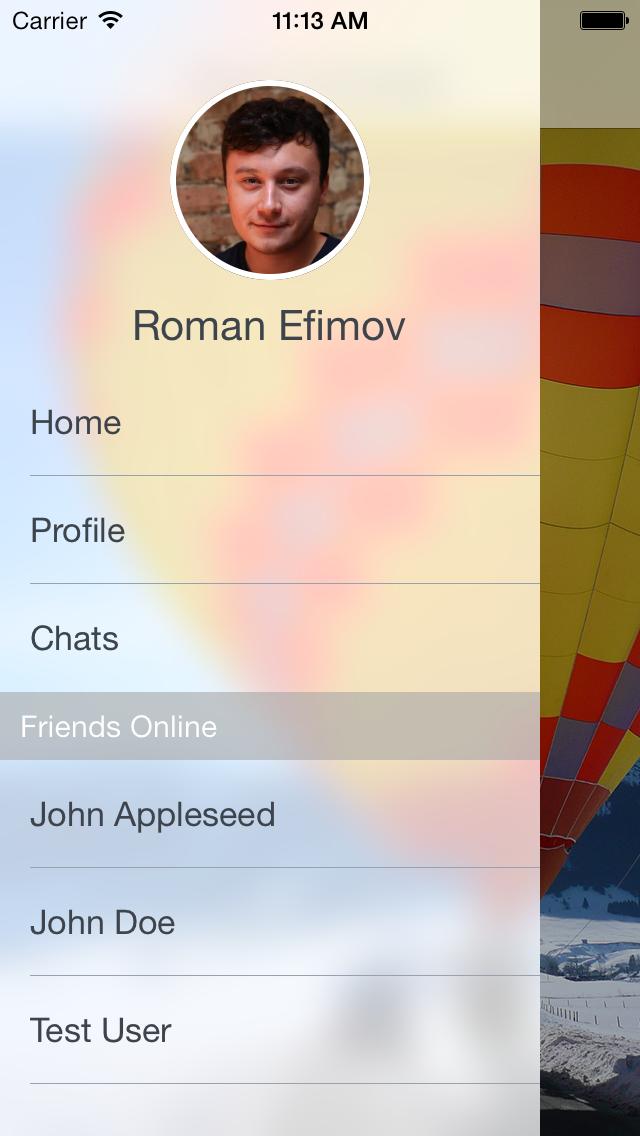 REFrostedViewController screenshot