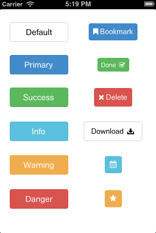 UIButton + Bootstrap 3.0 styles screenshot