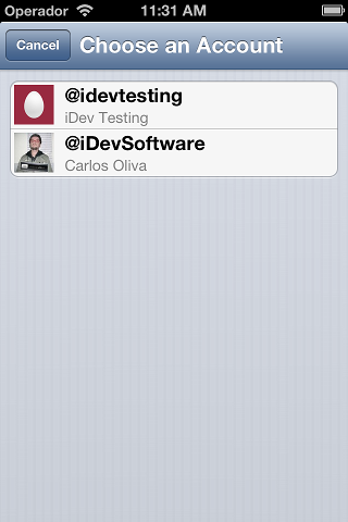 IDTwitterAccountChooserViewController screenshot