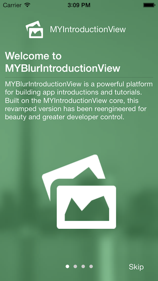 MYBlurIntroductionView screenshot