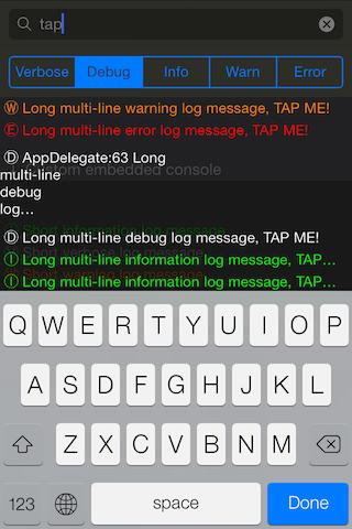 LumberjackConsole screenshot