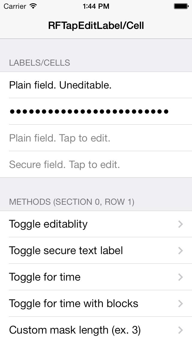 RFTapEditLabel screenshot