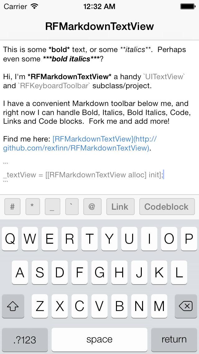 RFMarkdownTextView screenshot