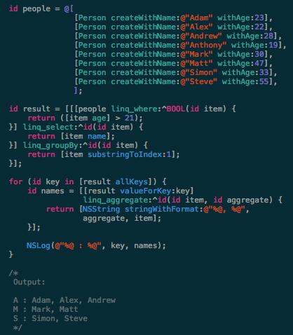 LINQ4Obj-C screenshot