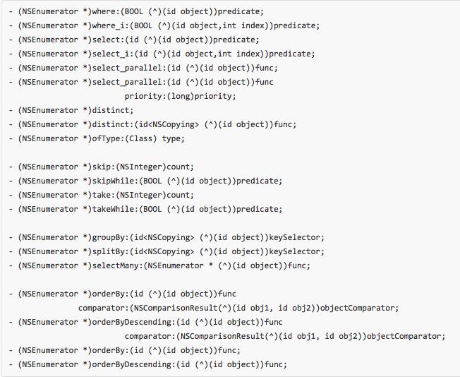 NSEnumeratorLinq for iOS - Cocoa Controls