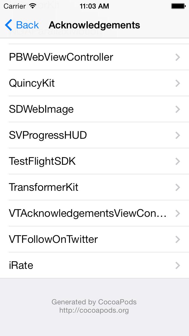 VTAcknowledgementsViewController screenshot