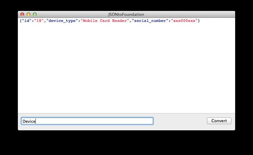 JSON to Foundation screenshot