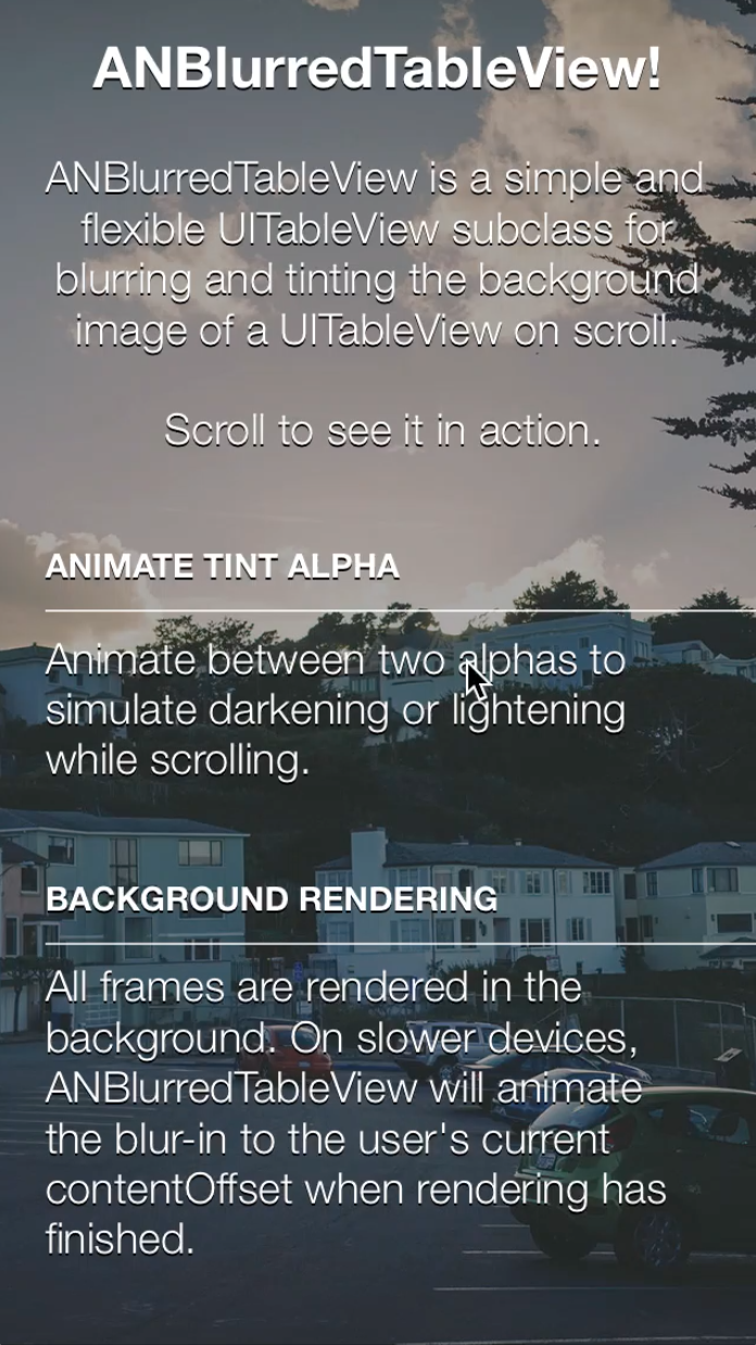 ANBlurredTableView screenshot