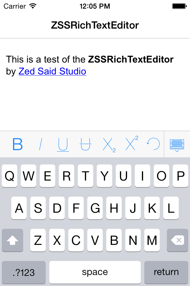 ZSSRichTextEditor screenshot