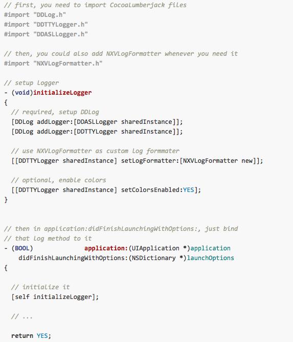NXVLogFormatter screenshot