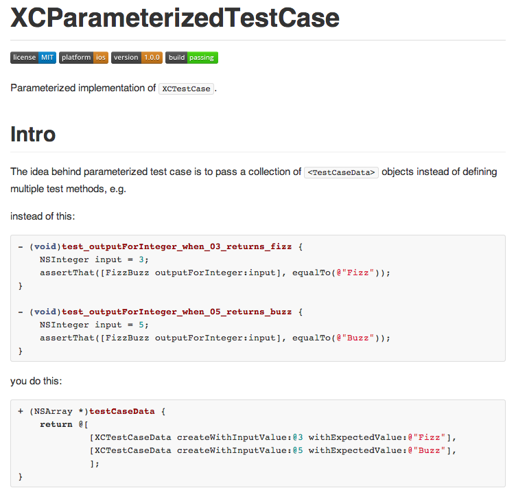 XCParameterizedTestCase screenshot