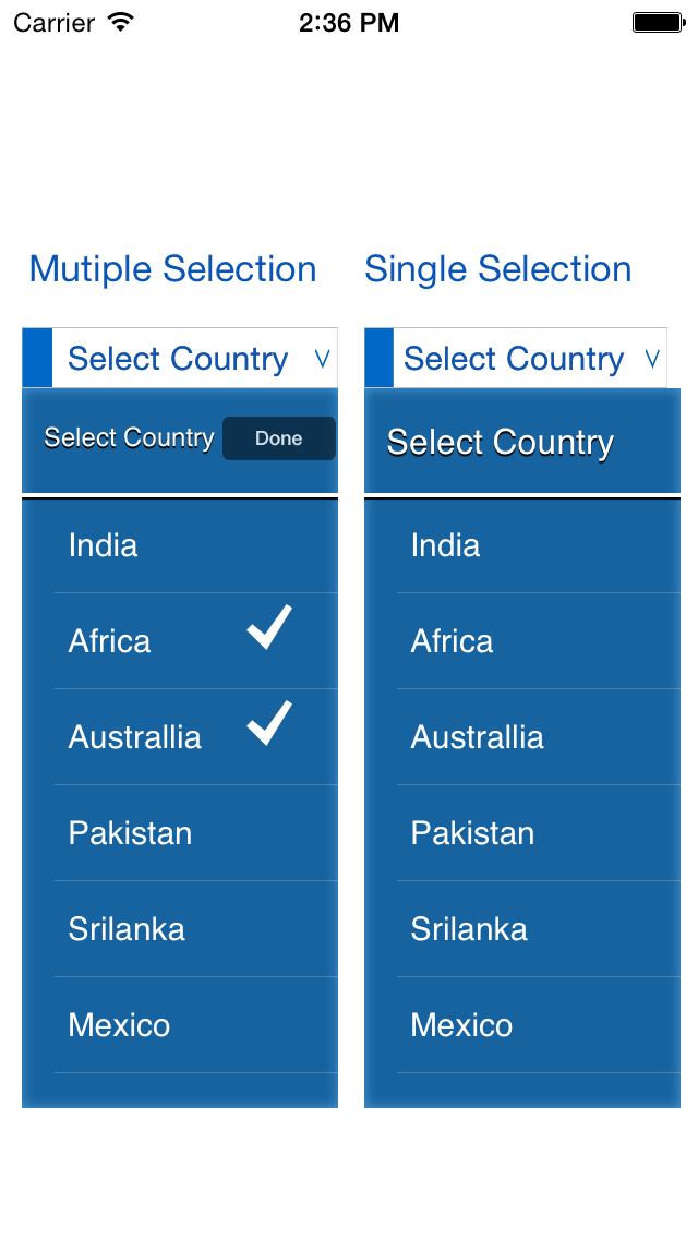 DropDownMultipleSelection screenshot
