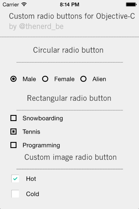 TNRadioButtonGroup screenshot