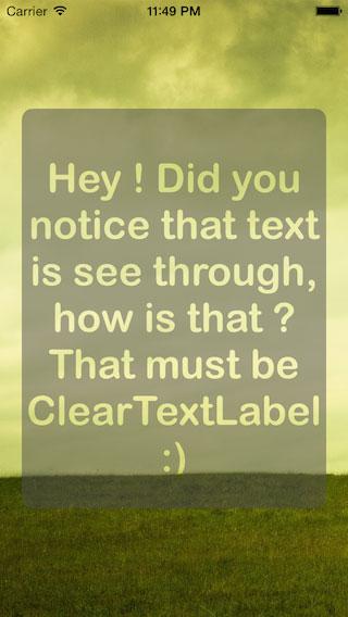 ClearTextLabel screenshot