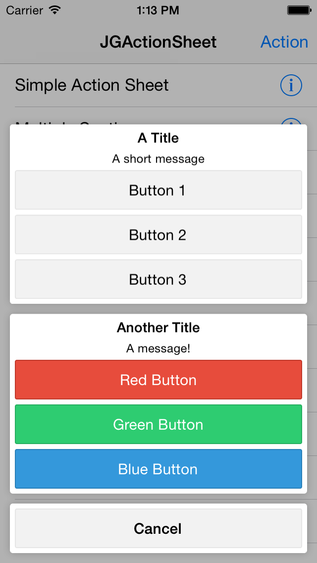 JGActionSheet screenshot