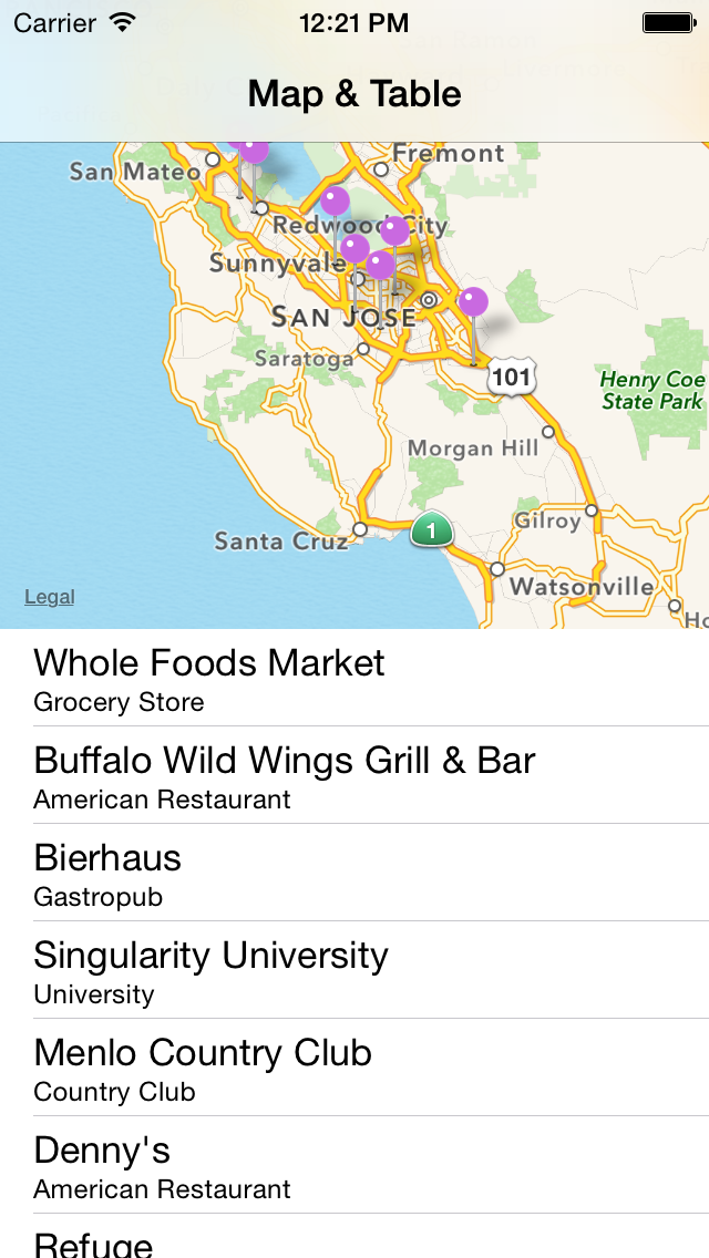 MapTable-Swift screenshot