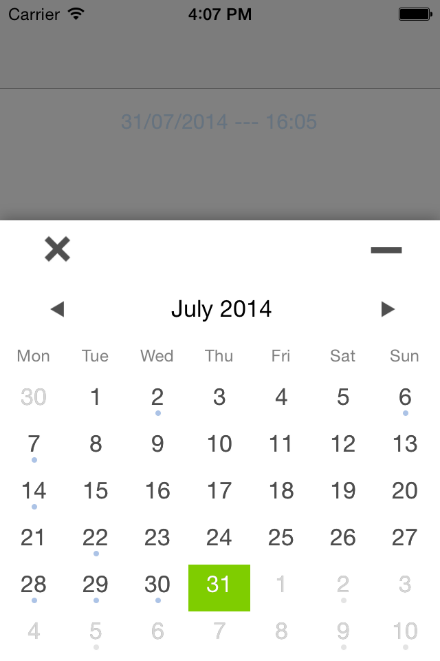 THCalendarDatePicker screenshot