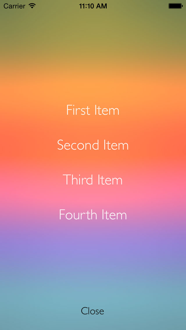 BlurMenu screenshot