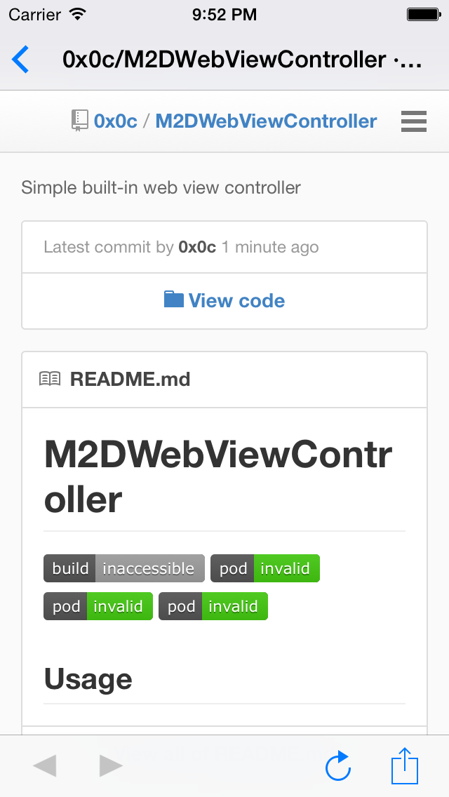 M2DWebViewController screenshot