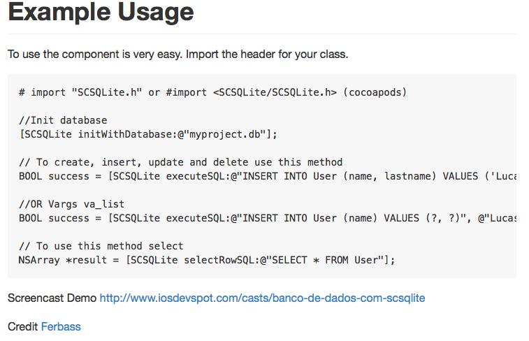 SCSQLite screenshot