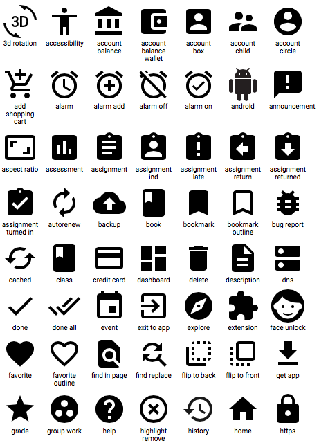 Google Material Design Icons screenshot