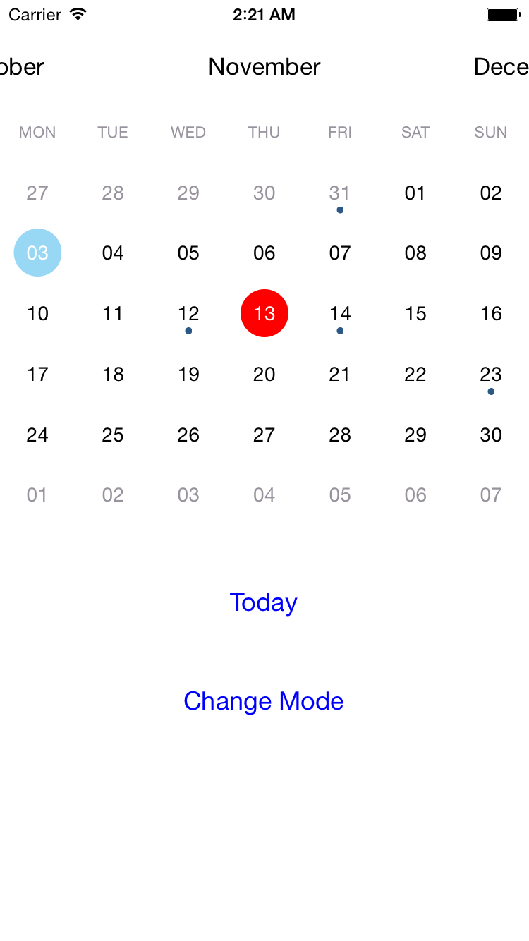 JTCalendar screenshot
